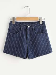 Raw Hem Pinstriped Denim Shorts