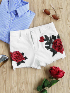3D Rose Applique Raw Hem Shorts