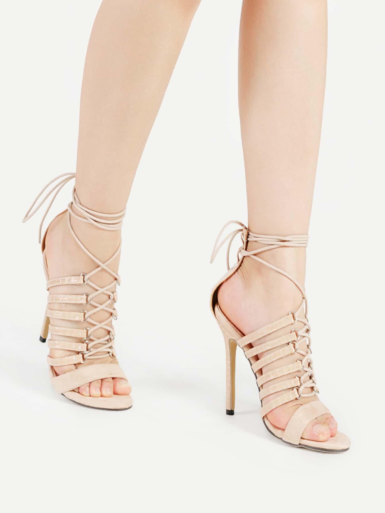 Criss Cross Tie Up PU Stiletto Sandals