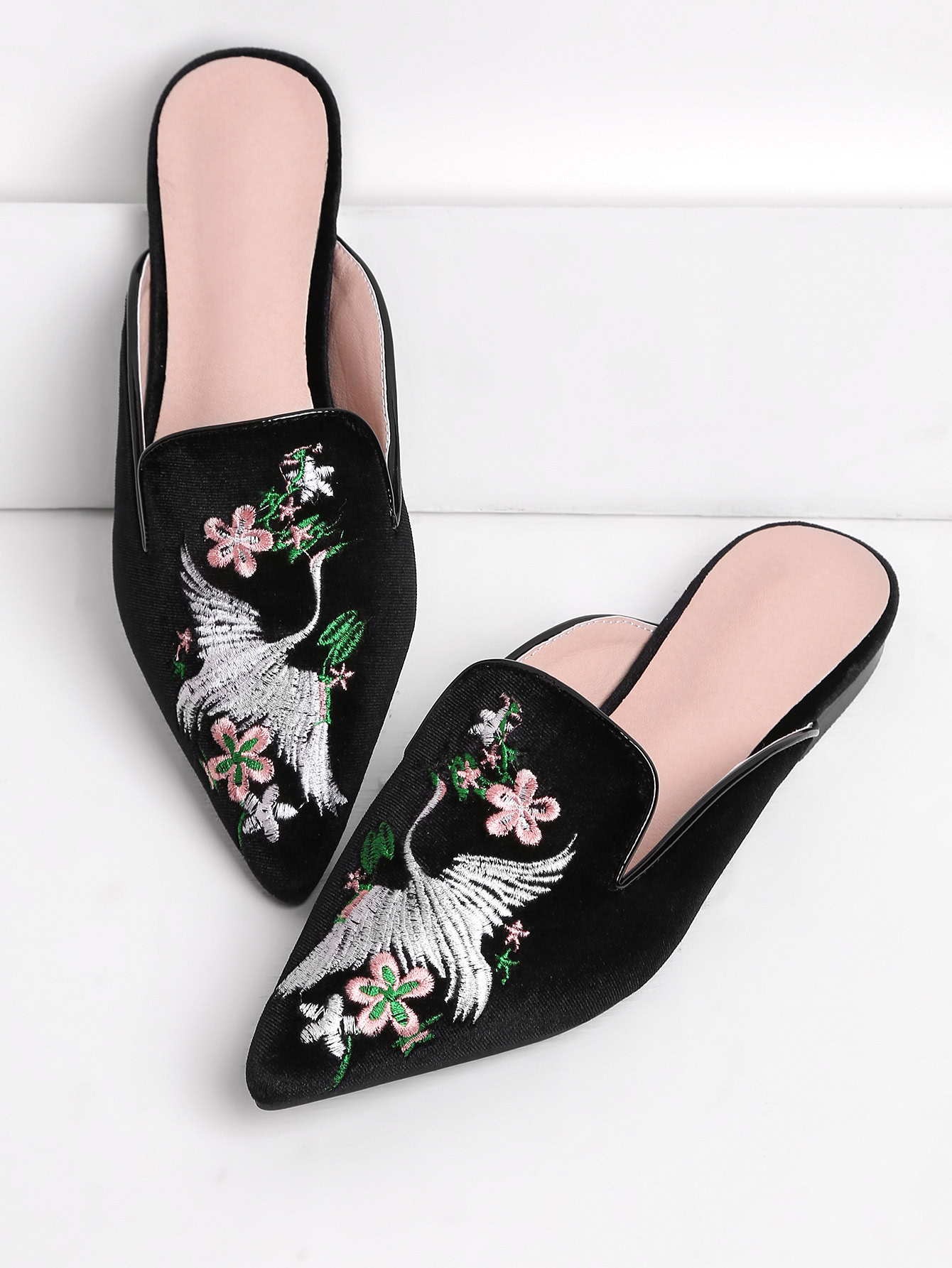 Cranes And Flower Embroidery Flat Mules insect embroidery flat mules