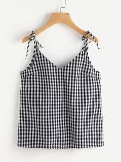 Self Tie Strap V Back Checkered Cami Top