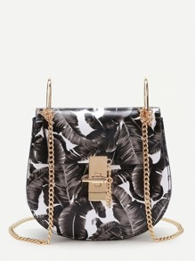 Leaf Print Flap Saddle PU Bag With Chain