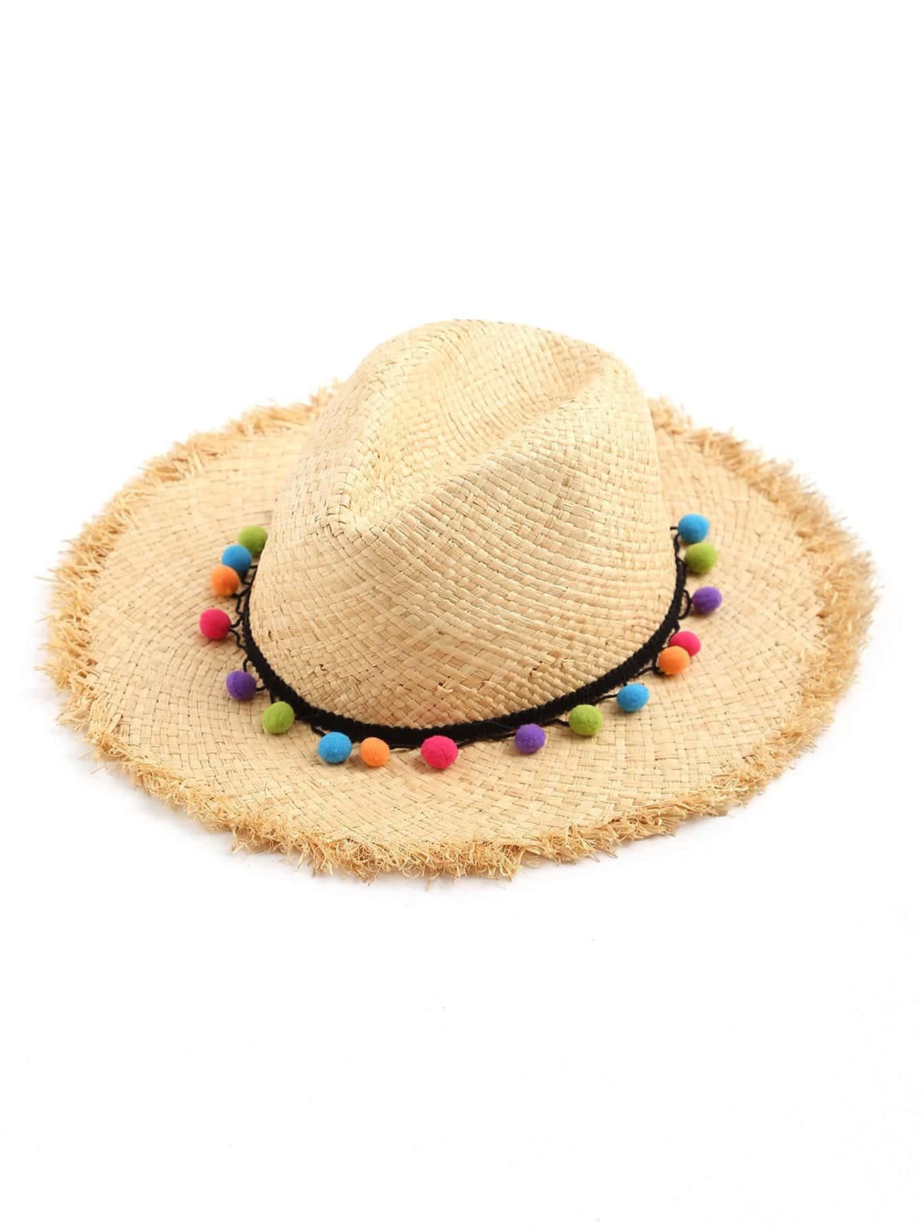 Фото Pom Pom Detail Straw Hat. Купить с доставкой