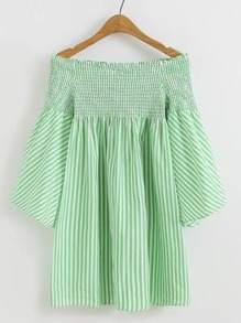 Boat Neckline Shirred Vertical Striped Dress