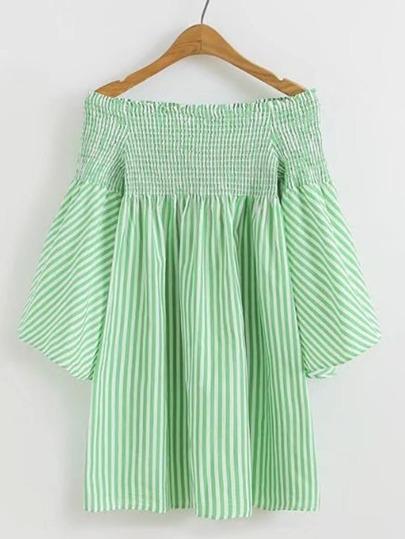 Vestido de fruncido de rayas verticales