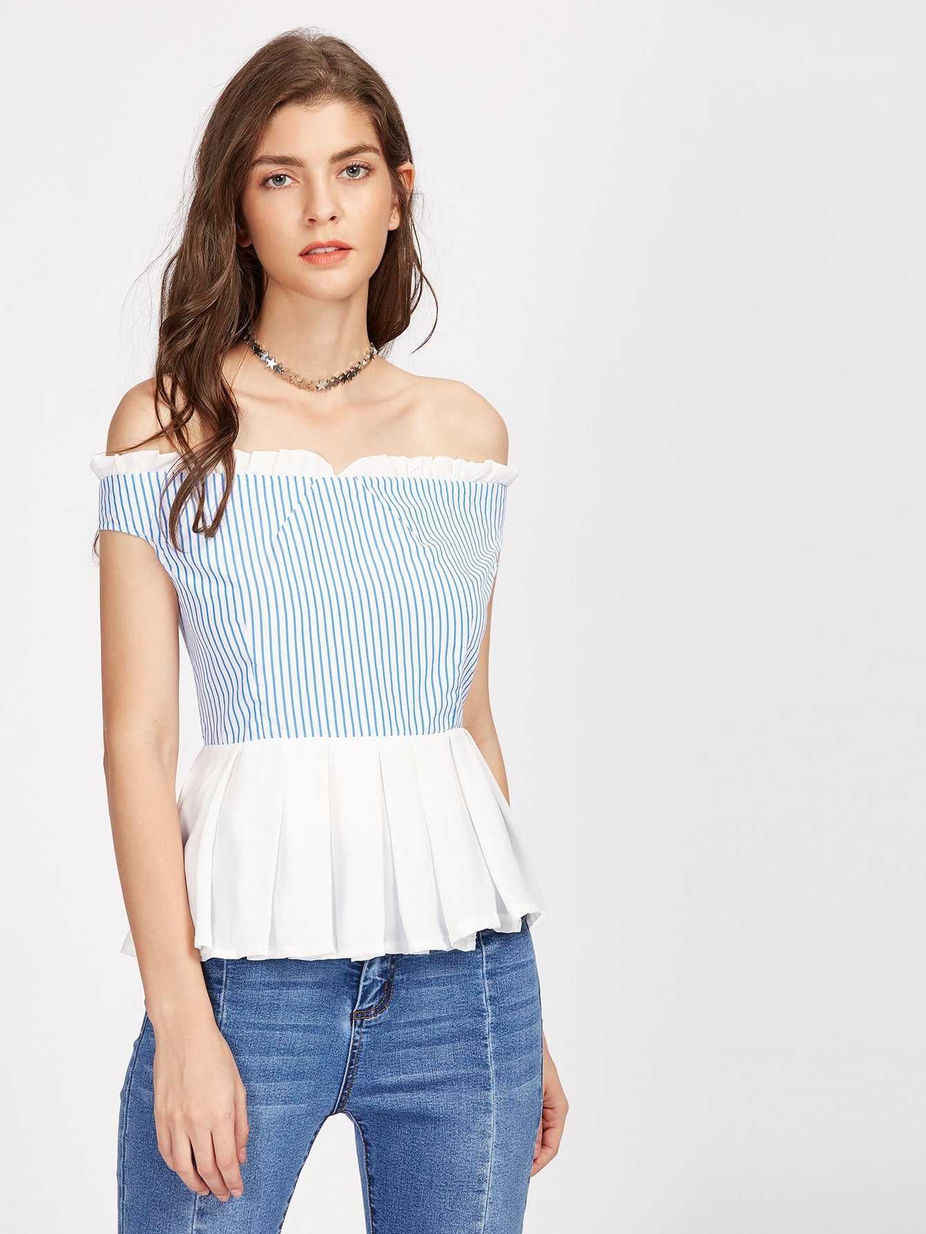 Фото Contrast Frill Trim Vertical Striped Bardot Top. Купить с доставкой