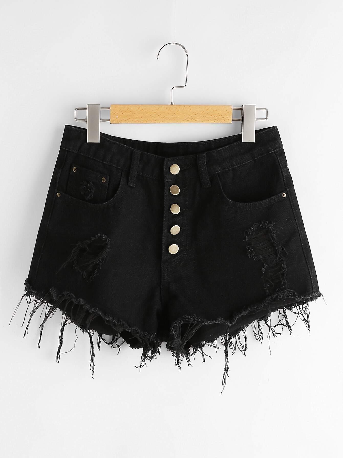 Фото Button Front Destroyed Denim Shorts. Купить с доставкой