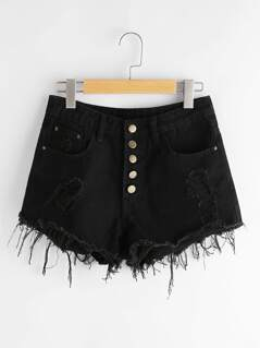 Button Front Destroyed Denim Shorts