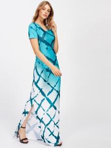 Ombre Shirred Side Slit Hem Full Length Dress