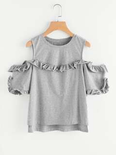 Frilled Trim Open Shoulder Stepped Hem Heathered Tee