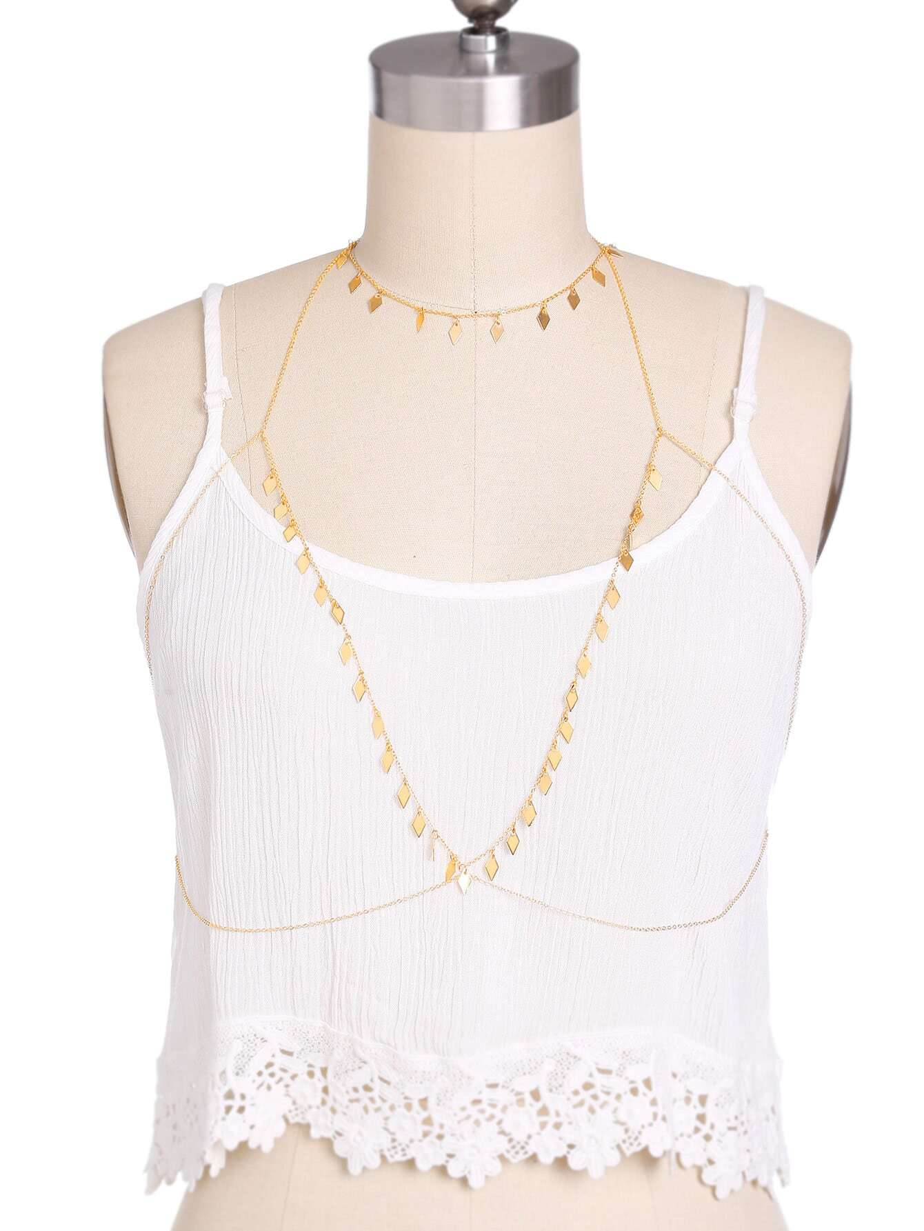 Фото Diamond-shaped Metal Sequin Detail Body Chain. Купить с доставкой