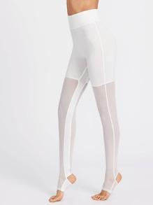 Wide Waistband Mesh Stirrup Leggings