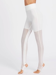 Wide Waistband Mesh Stirrup Leggings