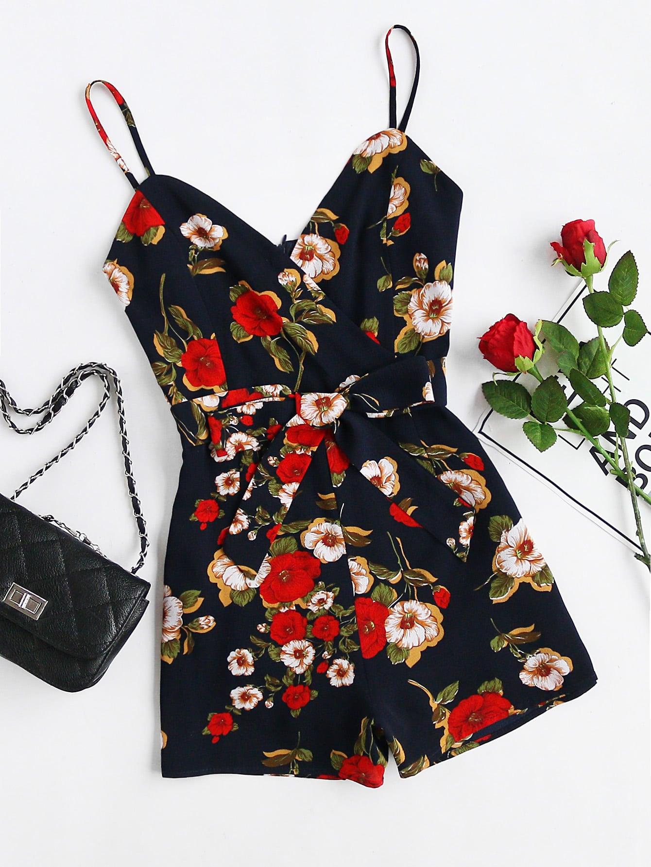 Фото Cami Straps Floral Playsuit With Self Tie. Купить с доставкой