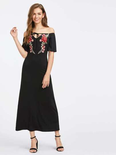 Flower Patch Tied V Notch Bardot Dress