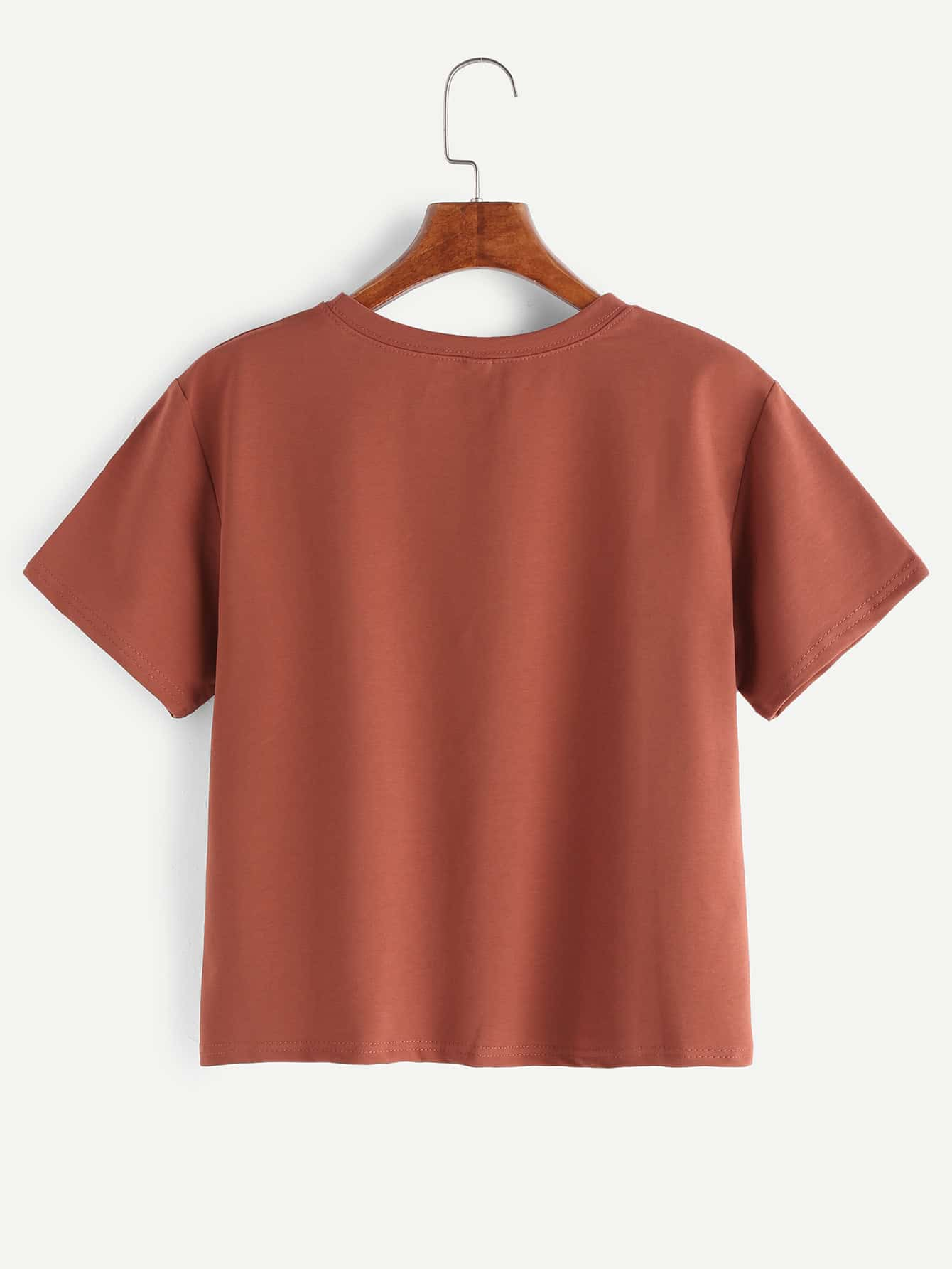 Brick red letter print t shirt shein sheinside for Letter print t shirt