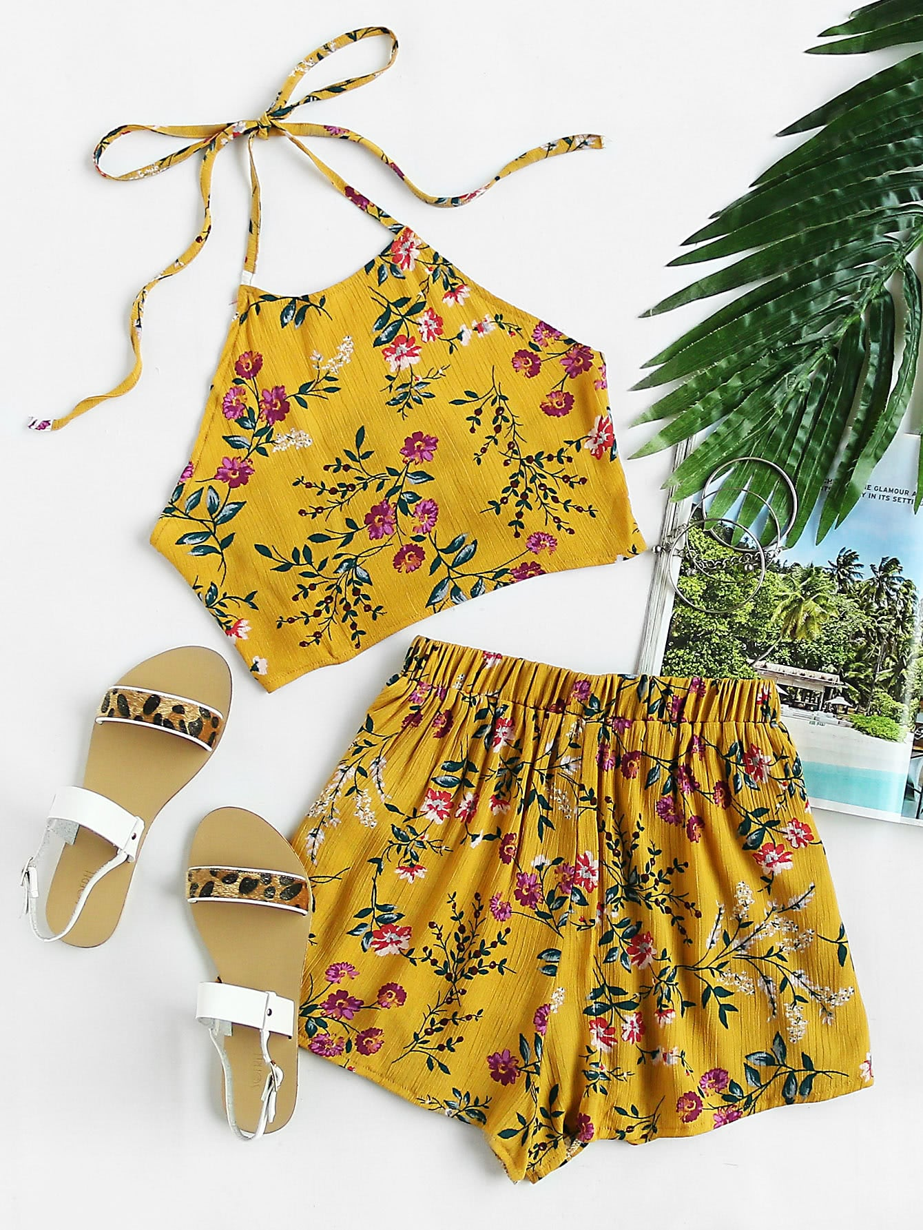 Floral Print Random Tie Open Back Crop Top With Shorts striped open back crop top