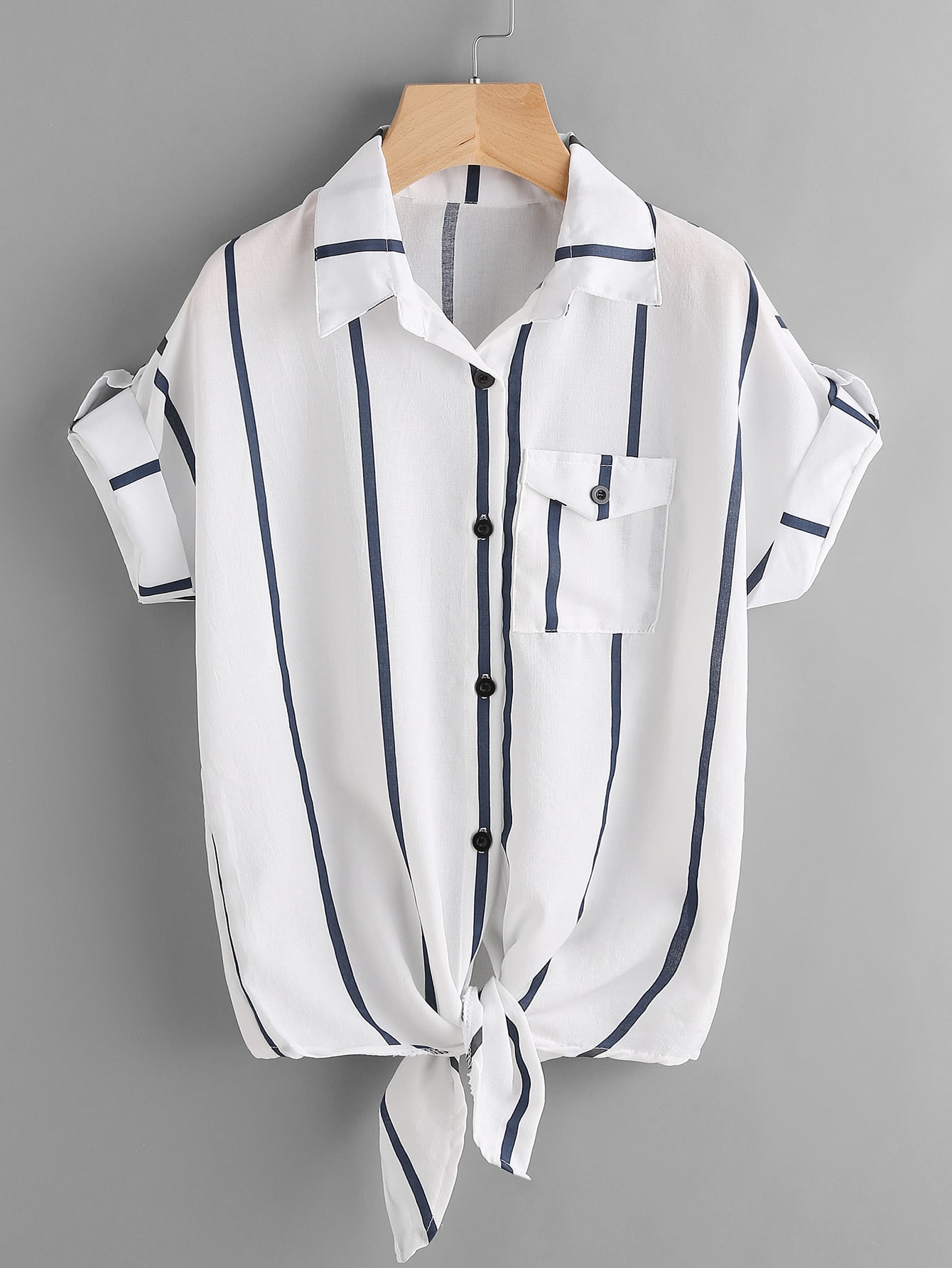 Striped Rolled Sleeve Knotted Top