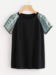 Geo Sequin Embroidered Raglan Sleeve Tee