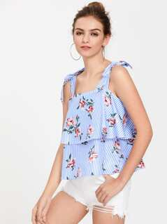 Bow Tie Shoulder Floral Layered Top