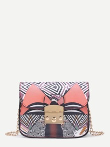Geometric Print PU Chain Bag