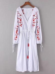 Flower Embroidery Tassel Tie Split Side Dress