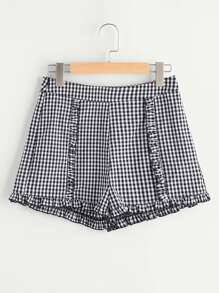 Zip Side Frill Detail Gingham Shorts