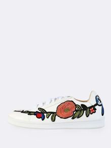 Patched Leather Lace Up Sneakers WHITE