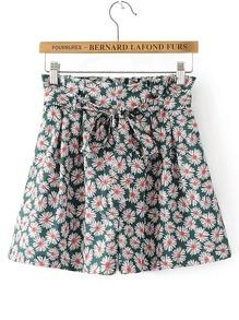 Ditsy Print Bow Tie Waist Shorts