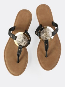 Gold Disc Thong Sandals BLACK