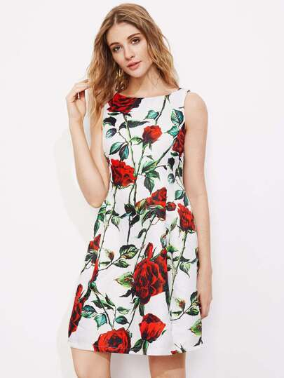 Flower Print Sleeveless Sheath Dress pictures
