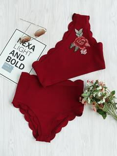 Embroidery Applique Scallop One Shoulder Bralette And Thong Set
