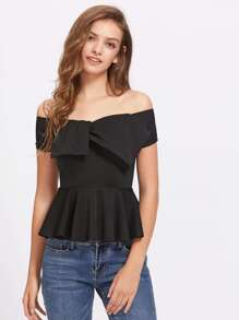 Exaggerated Bow Front Tailored Peplum Top