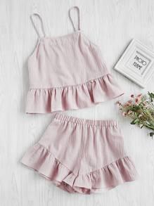 Flounce Hem Cami Top With Shorts Pajama Set