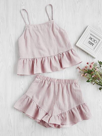 Flounce Hem Cami Top With Shorts Pajama Set
