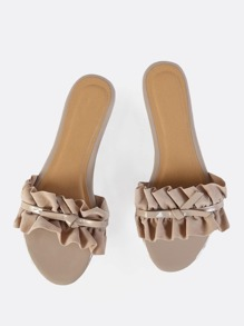 Ruffle Slip On Sandals NUDE