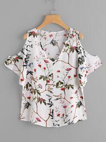 Blusa con estampado floral al azar