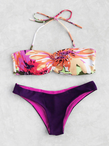 Bandeau Bikini Set mit Blumenmuster