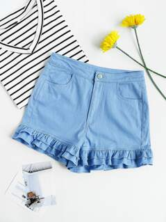 Two Layer Ruffle Trim Zip Fly Shorts