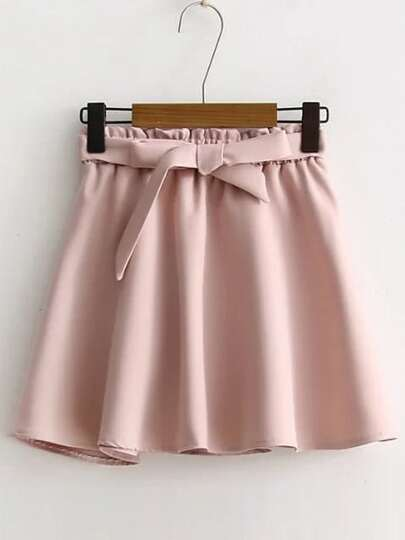 Pink Elastic Waist A Line Skirt With Self Tie