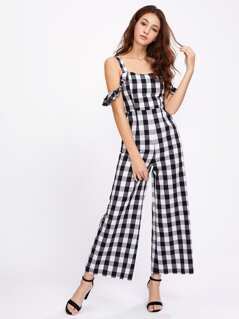 Thick Strap Ruffle Sleeve Checkered Culotte Jumpsuit