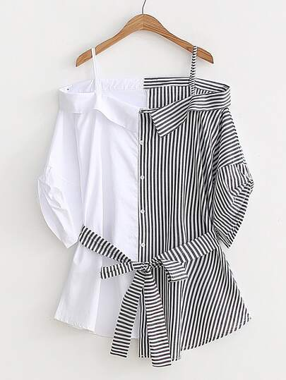 Collared Cold Shoulder Self Tie Cut And Sew Blouse