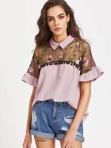 Contrast Embroidered Mesh Yoke Ruffle Sleeve Top