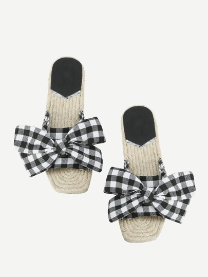 Grid Bow Toe Design Sandals