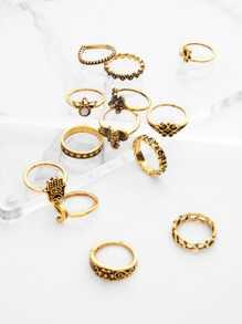 Ring Set 13pcs mit Krone und Blumen Design