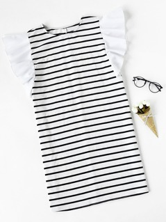Ruffle Cap Sleeve Striped Tee Dress