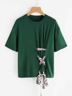 Drop Shoulder Grommet Lace Up Tee