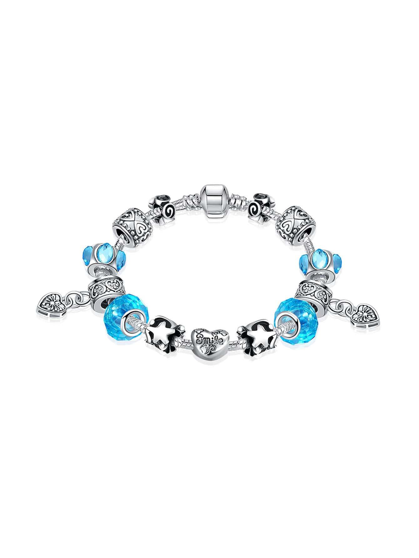 Фото Contrast Crystal Heart Charm Bracelet. Купить с доставкой