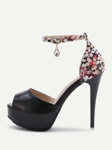 Calico Print PU Platform Stiletto Heels