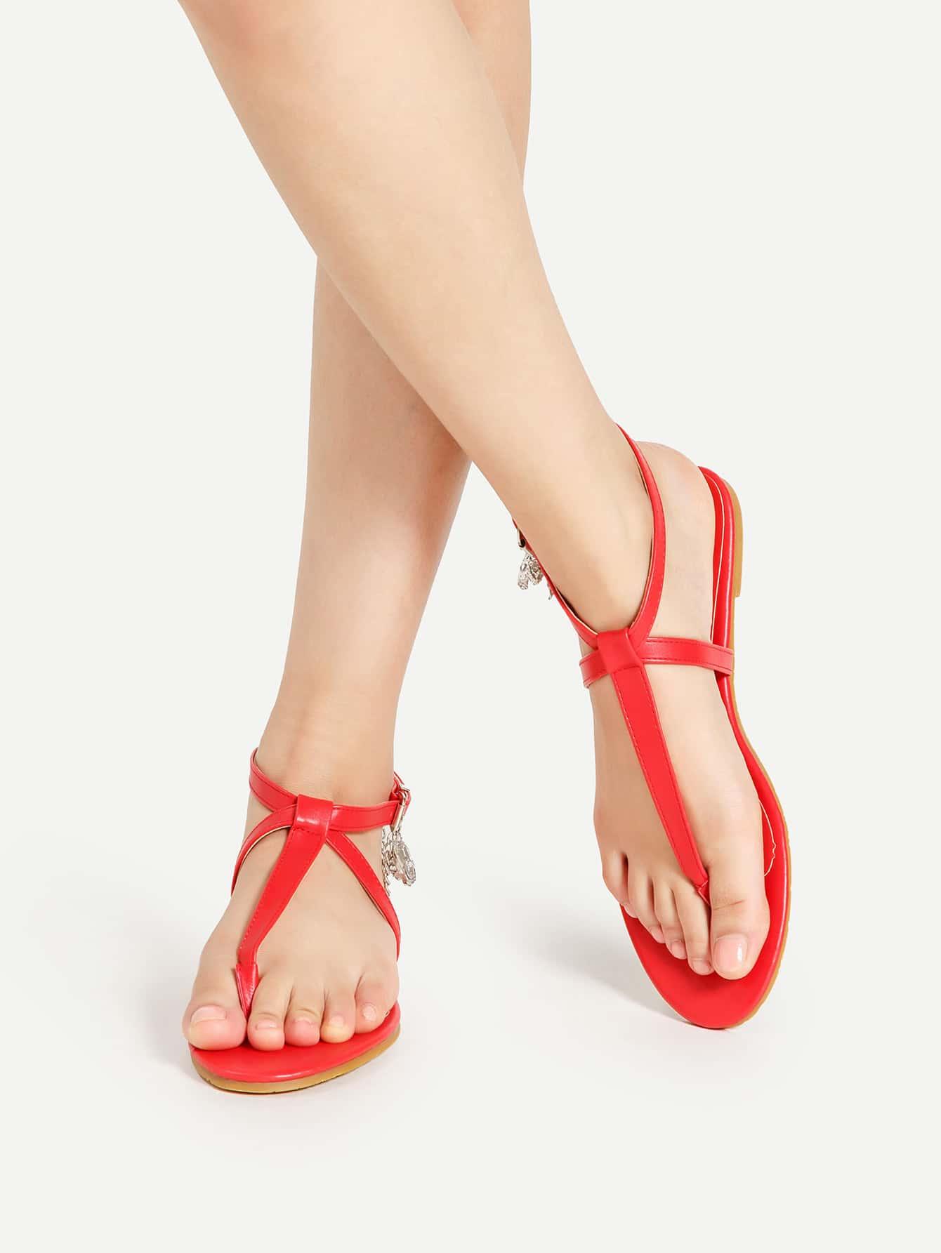 Фото Rhinestone Detail PU Strappy Sandals With Chain. Купить с доставкой